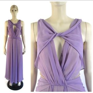 Badgley Mischka Purple Petunia Chiffon Gown 2